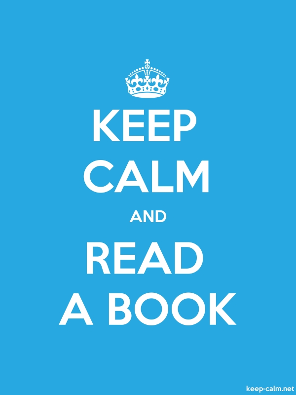 KEEP CALM AND READ A BOOK - white/blue - Default (600x800)