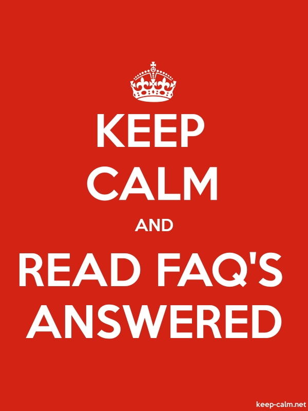 KEEP CALM AND READ FAQ'S ANSWERED - white/red - Default (600x800)