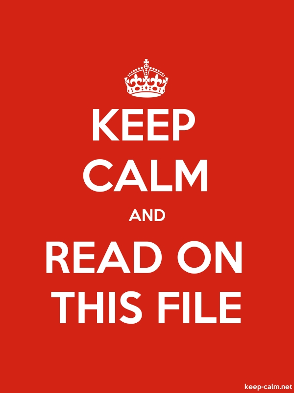 KEEP CALM AND READ ON THIS FILE - white/red - Default (600x800)