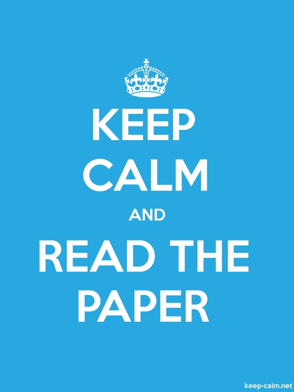 KEEP CALM AND READ THE PAPER - white/blue - Default (600x800)