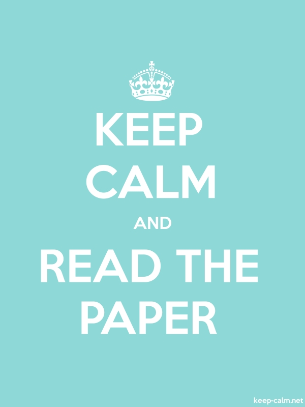 KEEP CALM AND READ THE PAPER - white/lightblue - Default (600x800)