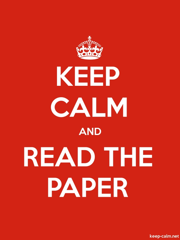 KEEP CALM AND READ THE PAPER - white/red - Default (600x800)