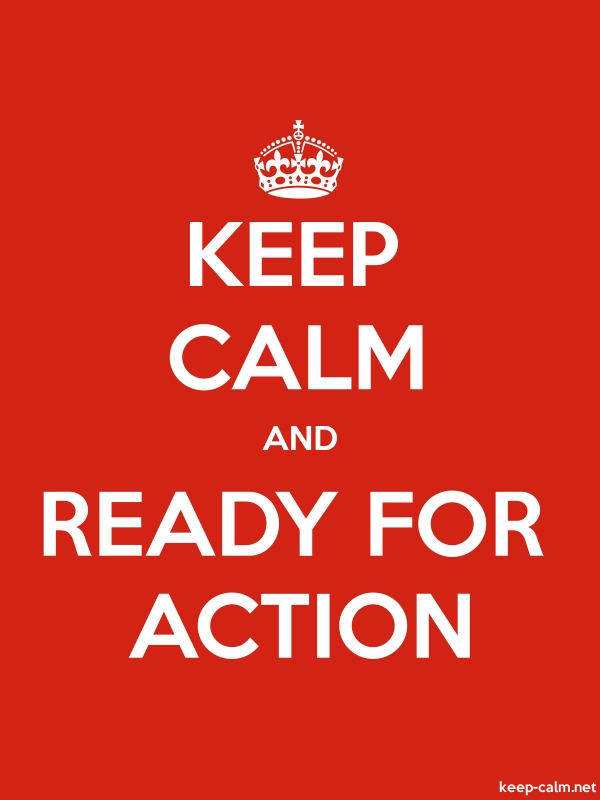 KEEP CALM AND READY FOR ACTION - white/red - Default (600x800)