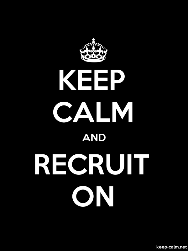 KEEP CALM AND RECRUIT ON - white/black - Default (600x800)