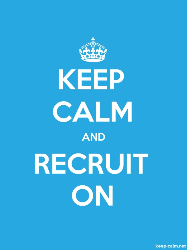 KEEP CALM AND RECRUIT ON - white/blue - Default (600x800)