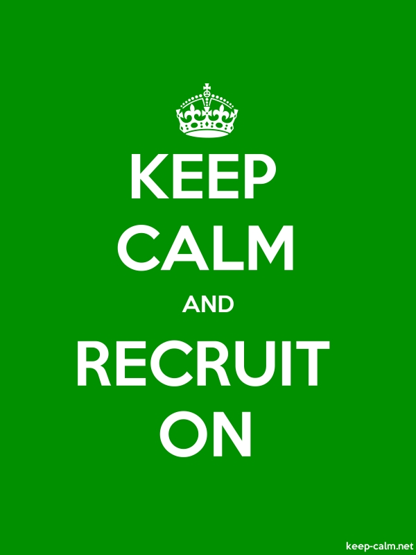 KEEP CALM AND RECRUIT ON - white/green - Default (600x800)
