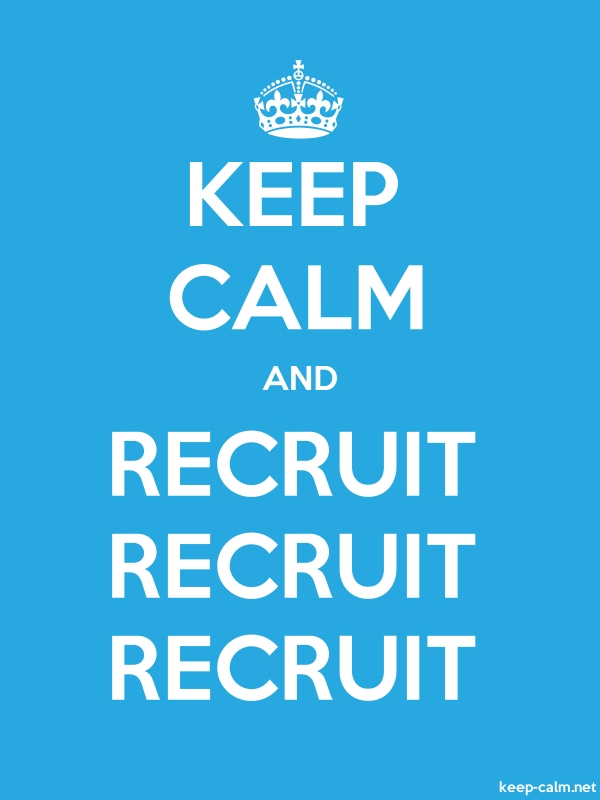 KEEP CALM AND RECRUIT RECRUIT RECRUIT - white/blue - Default (600x800)