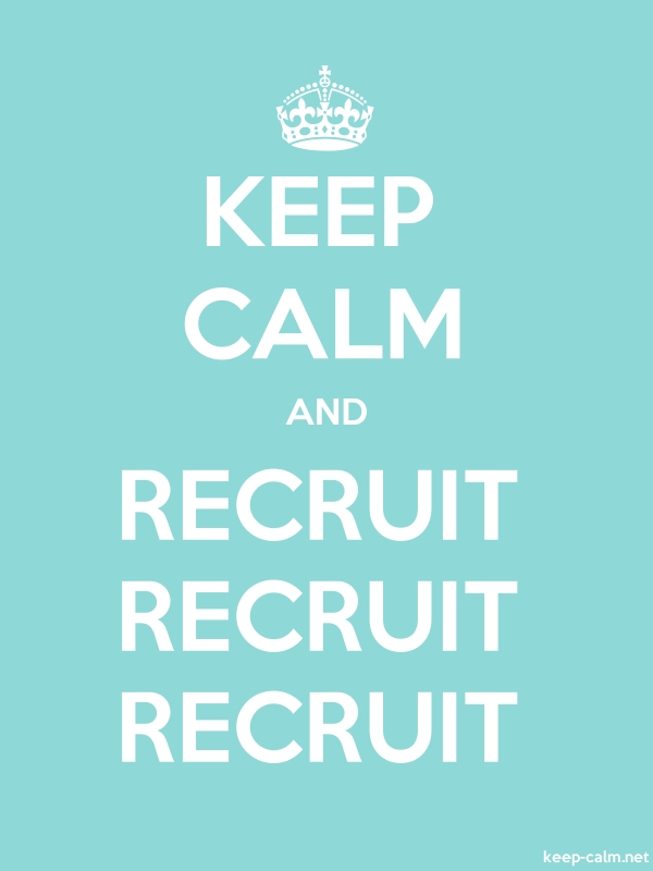 KEEP CALM AND RECRUIT RECRUIT RECRUIT - white/lightblue - Default (600x800)
