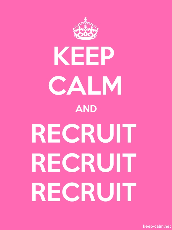 KEEP CALM AND RECRUIT RECRUIT RECRUIT - white/pink - Default (600x800)