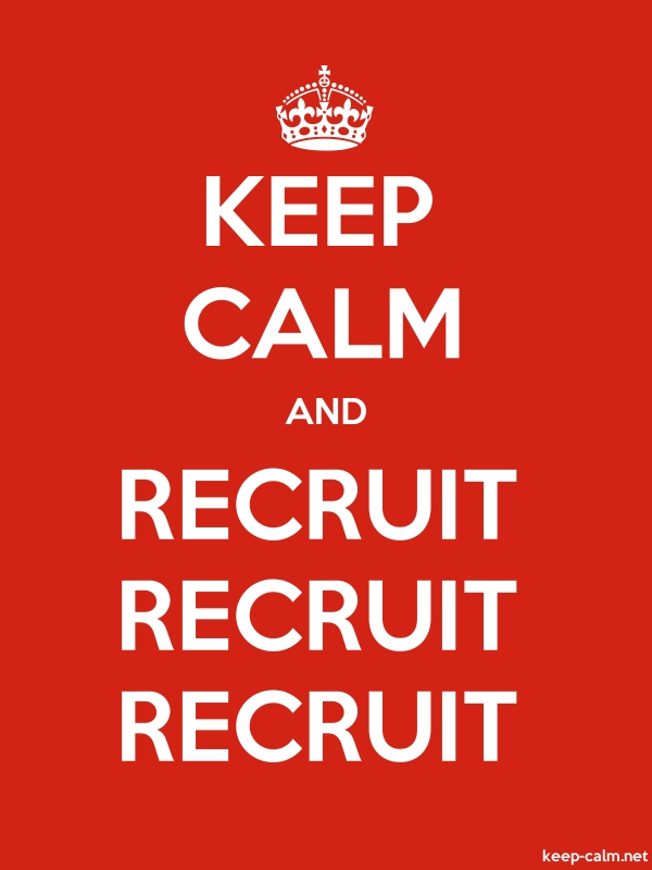 KEEP CALM AND RECRUIT RECRUIT RECRUIT - white/red - Default (600x800)