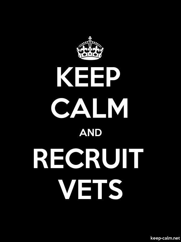 KEEP CALM AND RECRUIT VETS - white/black - Default (600x800)