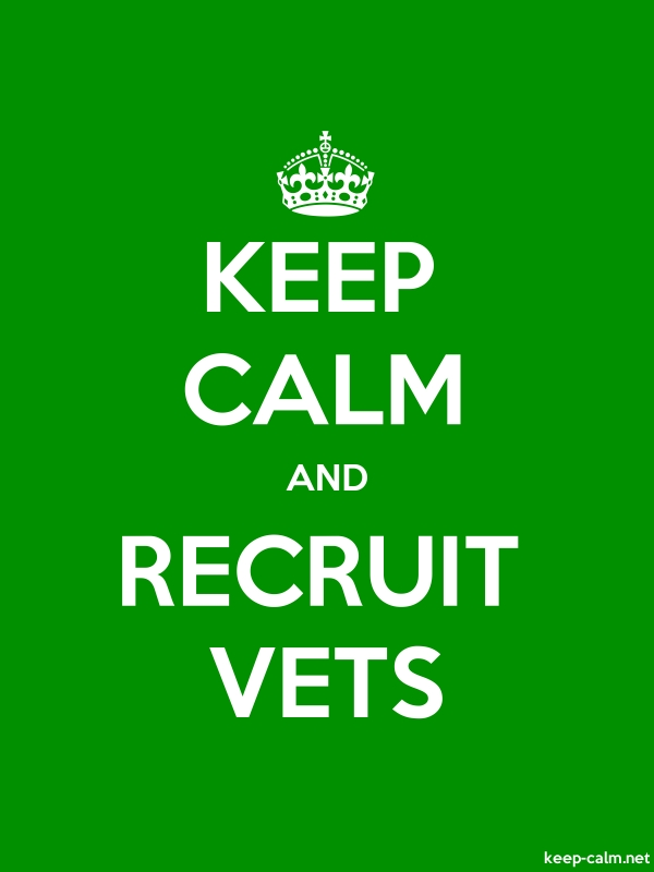 KEEP CALM AND RECRUIT VETS - white/green - Default (600x800)