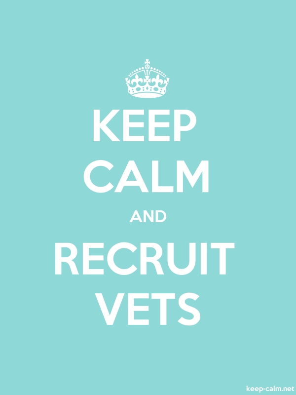 KEEP CALM AND RECRUIT VETS - white/lightblue - Default (600x800)