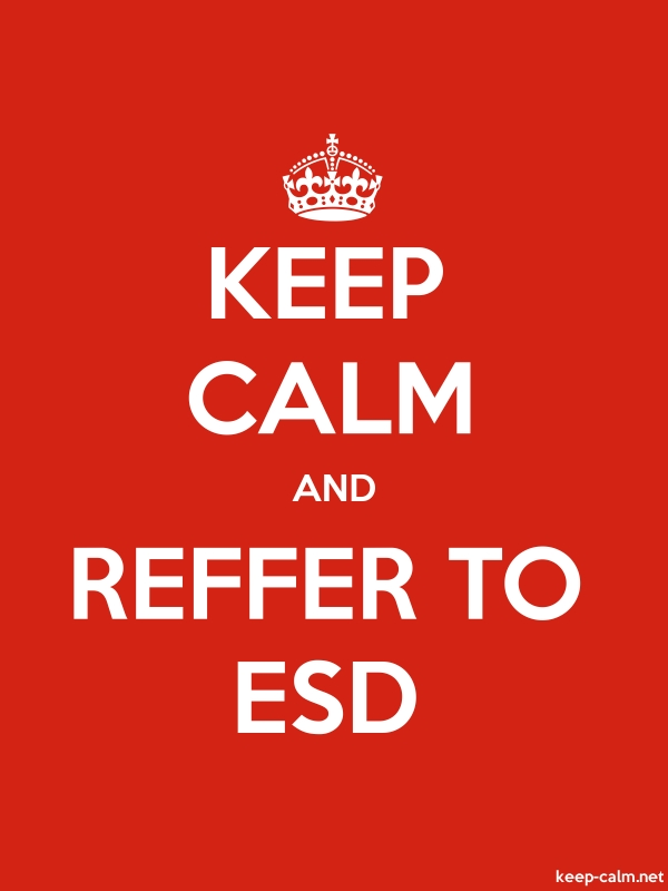 KEEP CALM AND REFFER TO ESD - white/red - Default (600x800)