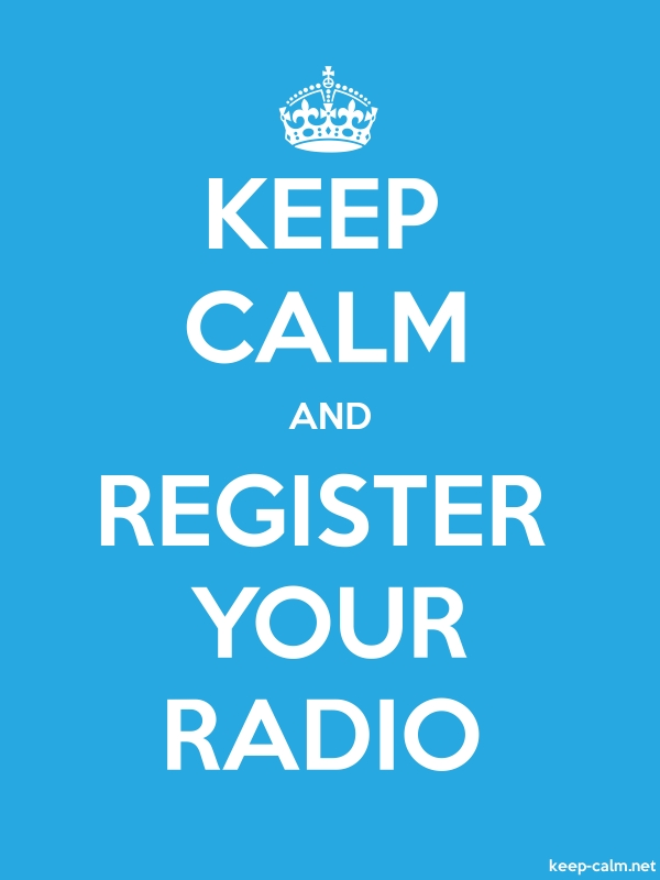 KEEP CALM AND REGISTER YOUR RADIO - white/blue - Default (600x800)