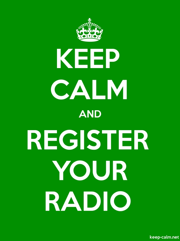KEEP CALM AND REGISTER YOUR RADIO - white/green - Default (600x800)