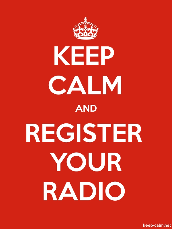 KEEP CALM AND REGISTER YOUR RADIO - white/red - Default (600x800)