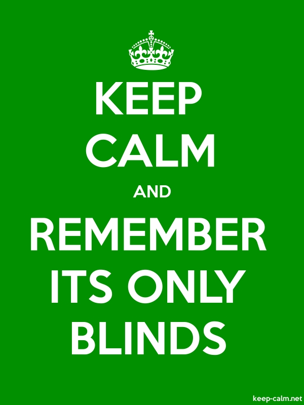KEEP CALM AND REMEMBER ITS ONLY BLINDS - white/green - Default (600x800)