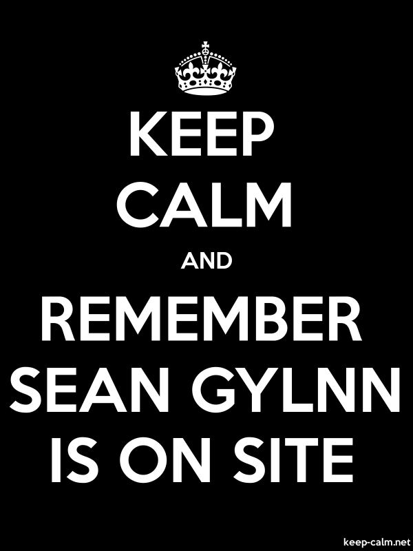 KEEP CALM AND REMEMBER SEAN GYLNN IS ON SITE - white/black - Default (600x800)