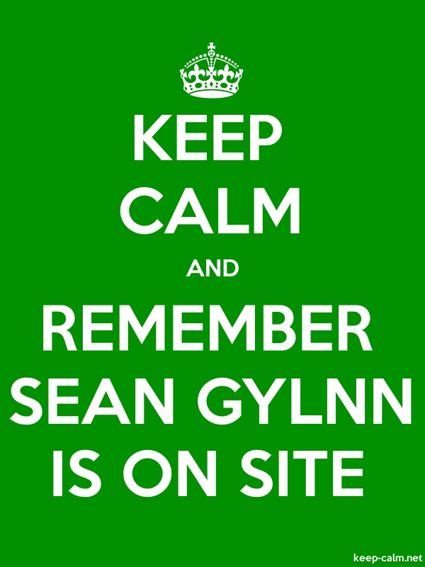 KEEP CALM AND REMEMBER SEAN GYLNN IS ON SITE - white/green - Default (600x800)