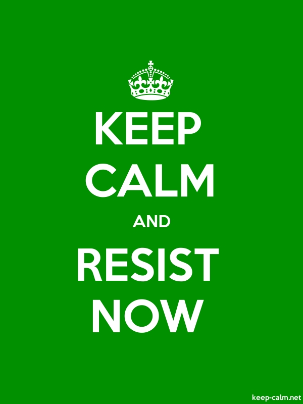 KEEP CALM AND RESIST NOW - white/green - Default (600x800)