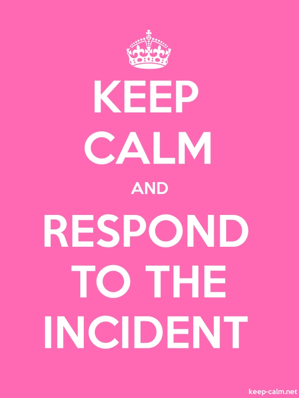 KEEP CALM AND RESPOND TO THE INCIDENT - white/pink - Default (600x800)