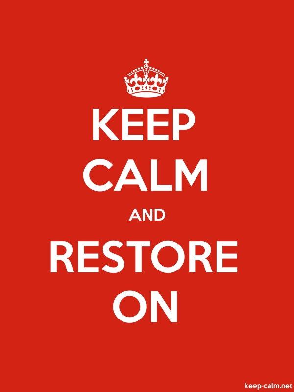 KEEP CALM AND RESTORE ON - white/red - Default (600x800)