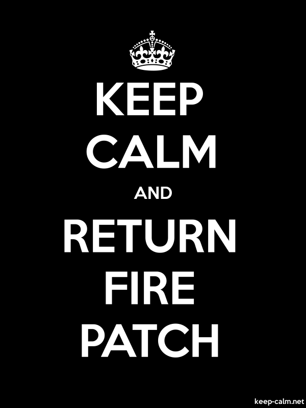 KEEP CALM AND RETURN FIRE PATCH - white/black - Default (600x800)