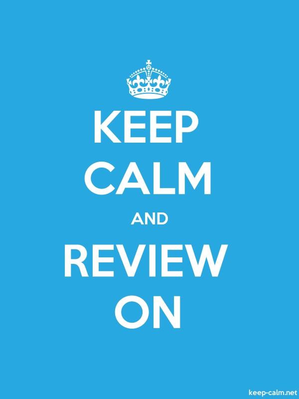 KEEP CALM AND REVIEW ON - white/blue - Default (600x800)
