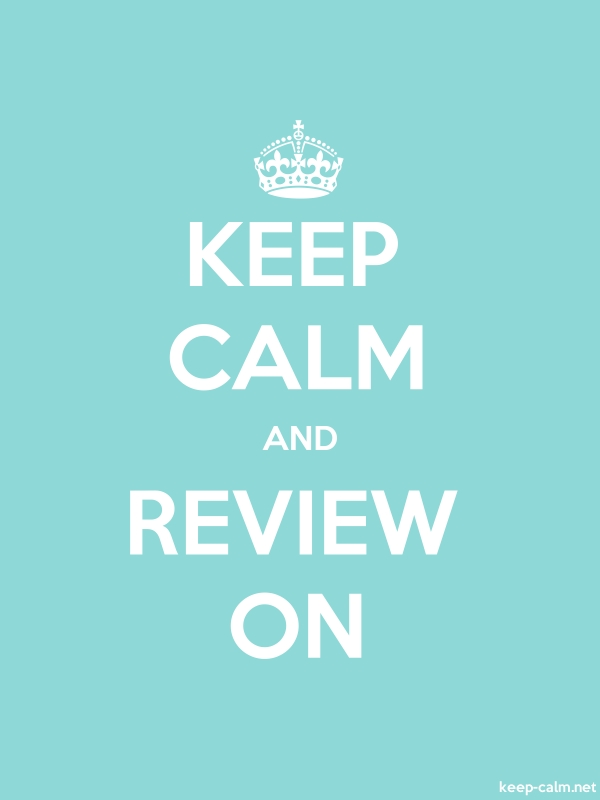 KEEP CALM AND REVIEW ON - white/lightblue - Default (600x800)