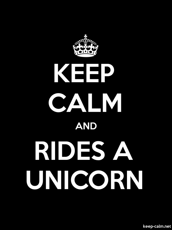 KEEP CALM AND RIDES A UNICORN - white/black - Default (600x800)