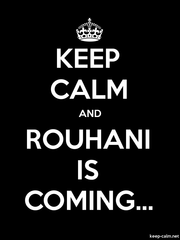 KEEP CALM AND ROUHANI IS COMING... - white/black - Default (600x800)