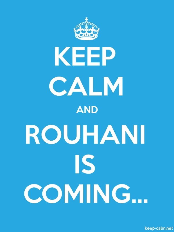 KEEP CALM AND ROUHANI IS COMING... - white/blue - Default (600x800)