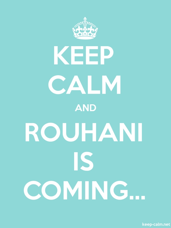 KEEP CALM AND ROUHANI IS COMING... - white/lightblue - Default (600x800)