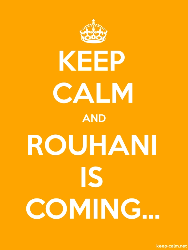 KEEP CALM AND ROUHANI IS COMING... - white/orange - Default (600x800)