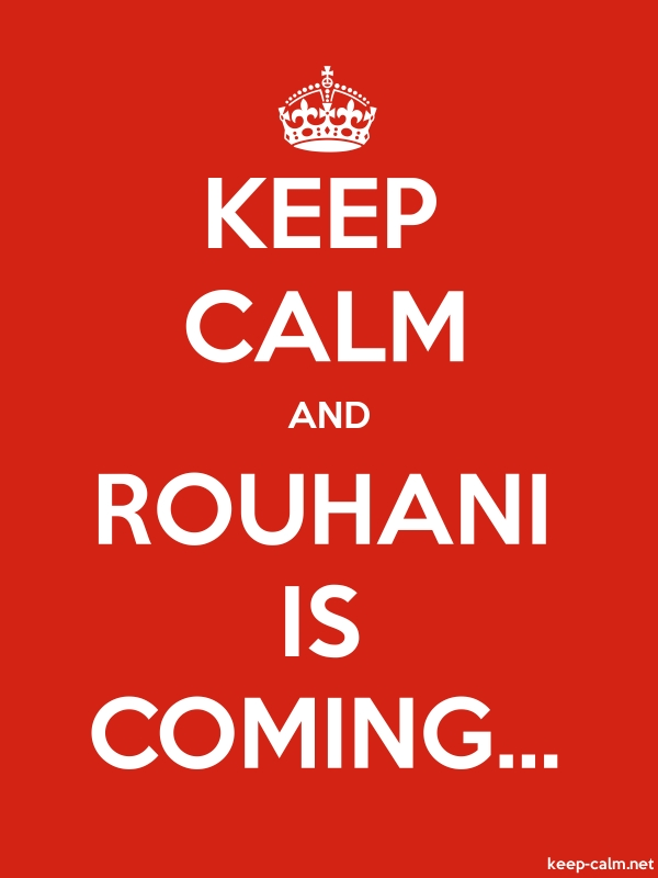 KEEP CALM AND ROUHANI IS COMING... - white/red - Default (600x800)