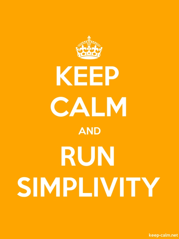 KEEP CALM AND RUN SIMPLIVITY - white/orange - Default (600x800)