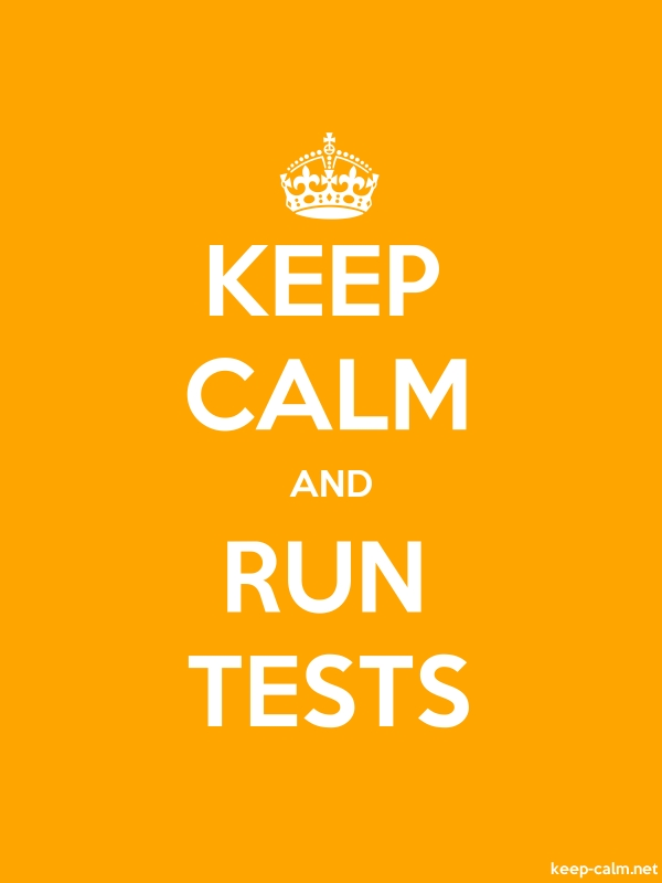 KEEP CALM AND RUN TESTS - white/orange - Default (600x800)