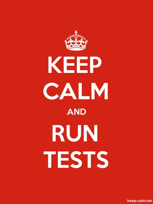 KEEP CALM AND RUN TESTS - white/red - Default (600x800)