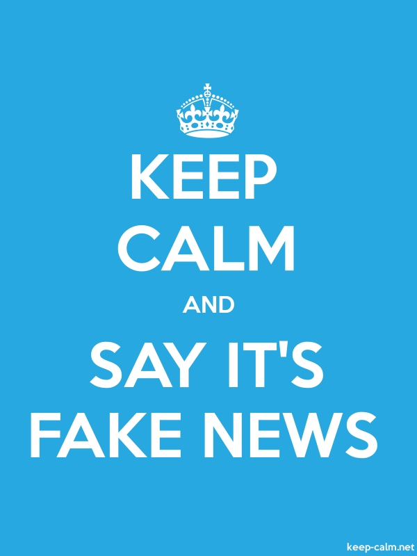 KEEP CALM AND SAY IT'S FAKE NEWS - white/blue - Default (600x800)