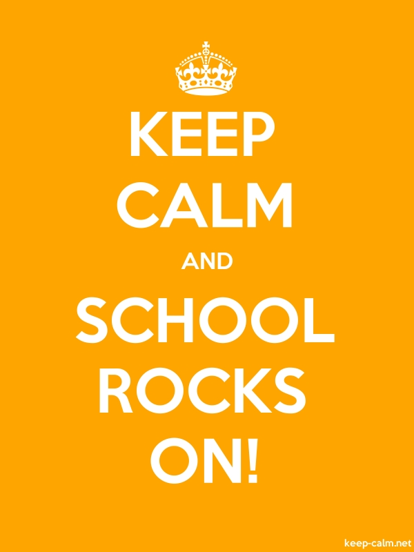 KEEP CALM AND SCHOOL ROCKS ON! - white/orange - Default (600x800)