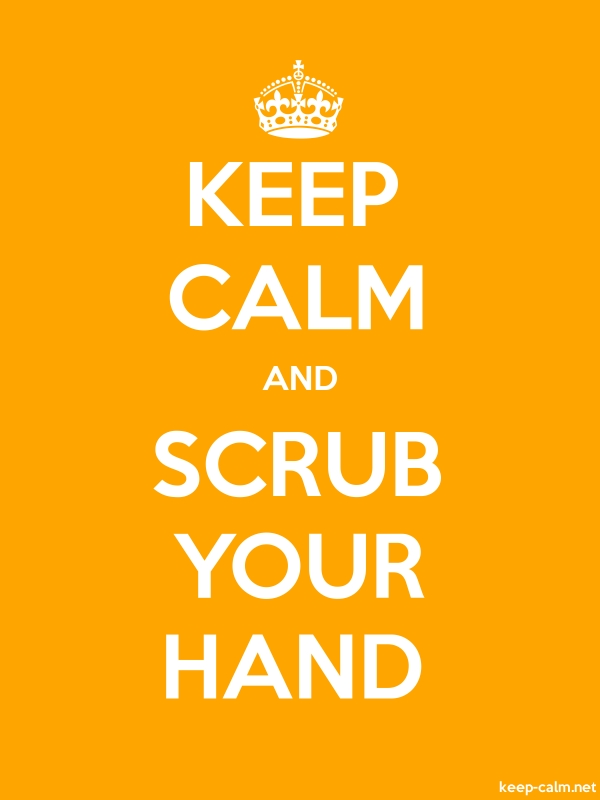KEEP CALM AND SCRUB YOUR HAND - white/orange - Default (600x800)