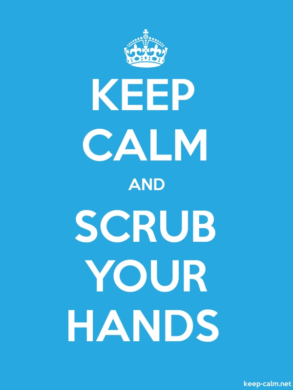 KEEP CALM AND SCRUB YOUR HANDS - white/blue - Default (600x800)