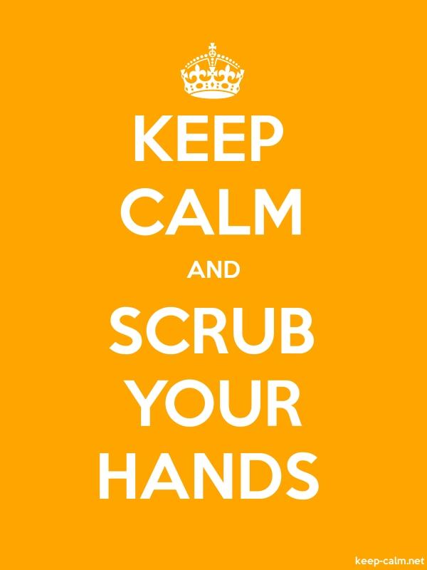 KEEP CALM AND SCRUB YOUR HANDS - white/orange - Default (600x800)