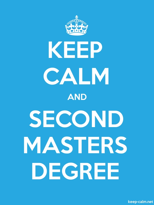 KEEP CALM AND SECOND MASTERS DEGREE - white/blue - Default (600x800)