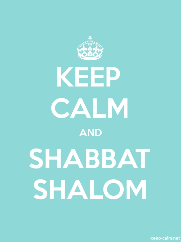 KEEP CALM AND SHABBAT SHALOM - white/lightblue - Default (600x800)