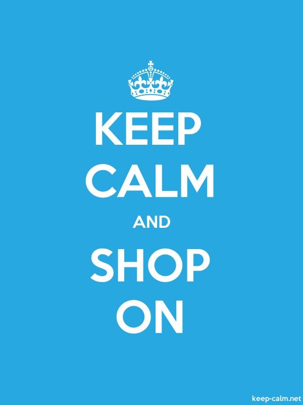 KEEP CALM AND SHOP ON - white/blue - Default (600x800)