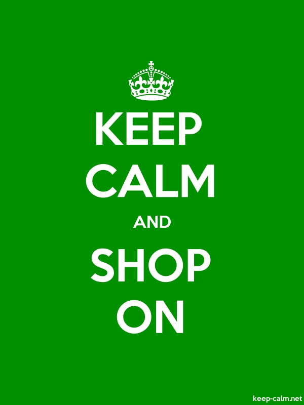 KEEP CALM AND SHOP ON - white/green - Default (600x800)