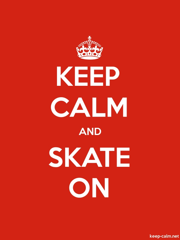 KEEP CALM AND SKATE ON - white/red - Default (600x800)