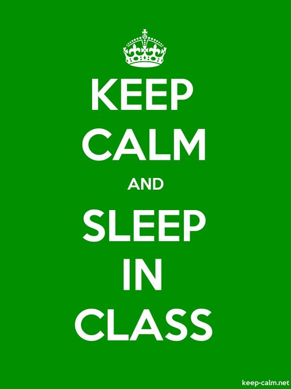 KEEP CALM AND SLEEP IN CLASS - white/green - Default (600x800)